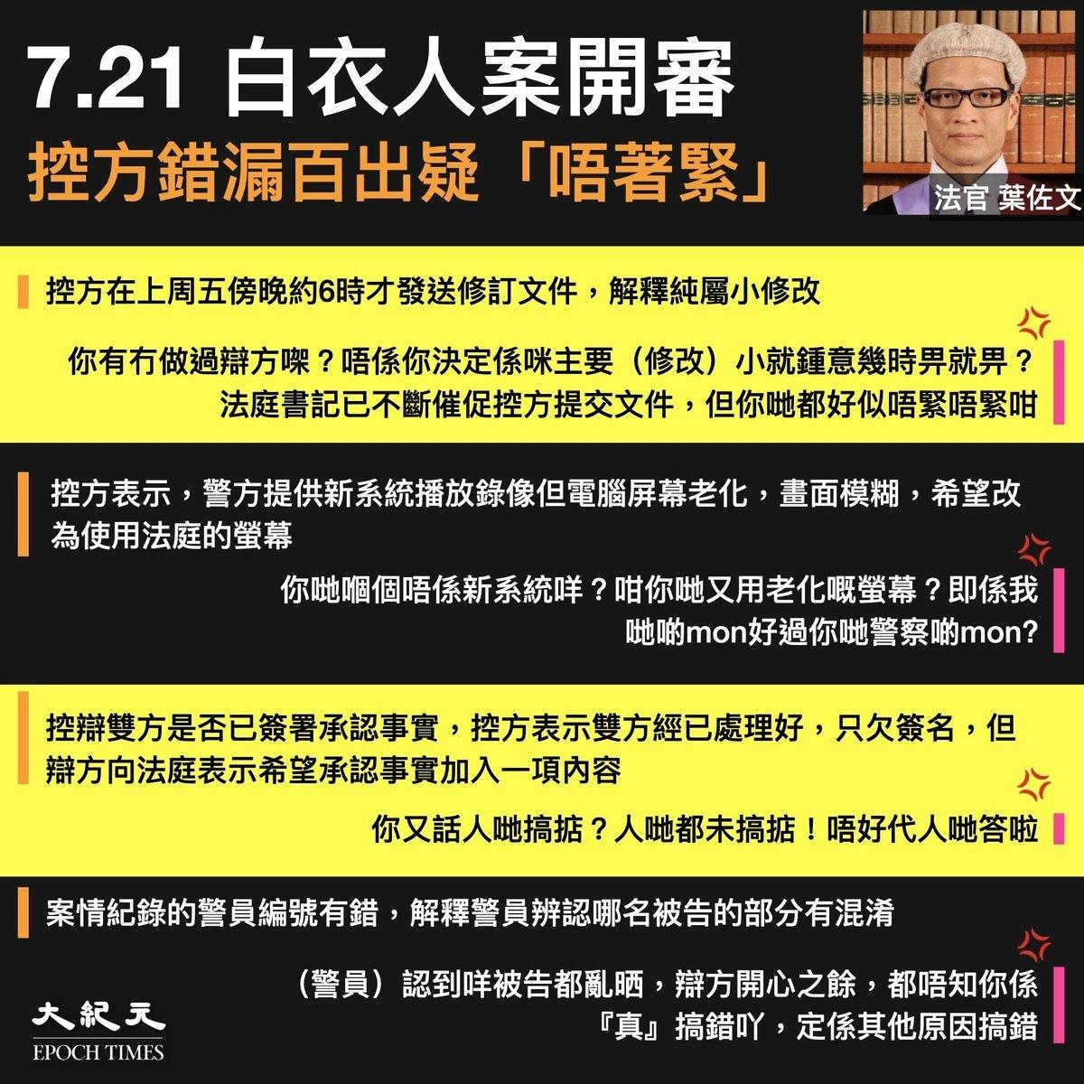 721白衣人襲擊市民事件今(2月22日)開庭審理,法官葉佐文斥控方多次出錯,疑對案件不著緊。(大紀元製圖)