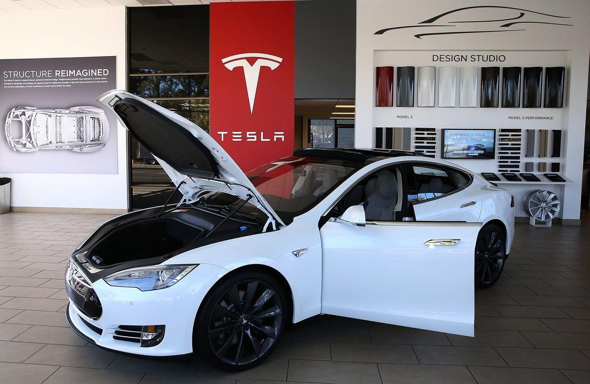 圖為特斯拉Model S型汽車。(Justin Sullivan/Getty Images)