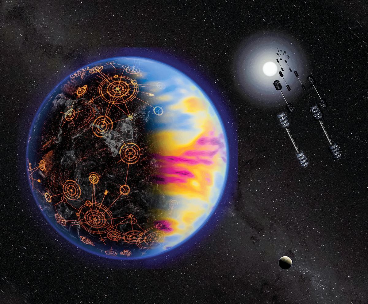 系外行星藝術假想圖:一個科技發達的星球,其大氣中含有工業活動生成的污染成份,由不同顏色標示。(NASA/Jay Freid lander)