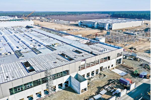 特斯拉正在興建的德國電池工廠。(Getty Images)