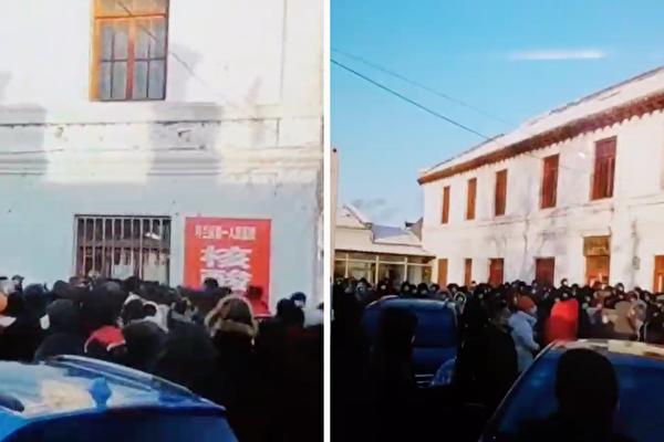 黑龍江各地爆發疫情。圖為哈爾濱呼蘭區檢查點,人擠人,令人擔心疫情傳染。(視頻截圖)