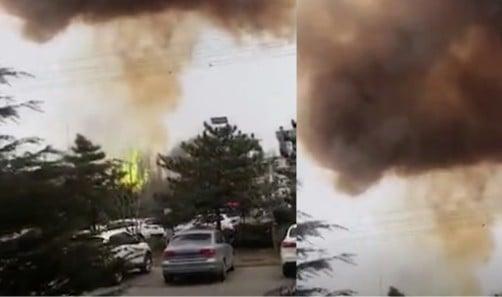 2月23日下午,河北唐山市一焦化廠發生爆炸。(網頁截圖)