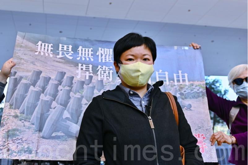 時任香港電台《鏗鏘集》編導蔡玉玲1月14日在西九龍裁判法院提堂。(宋碧龍/大紀元)