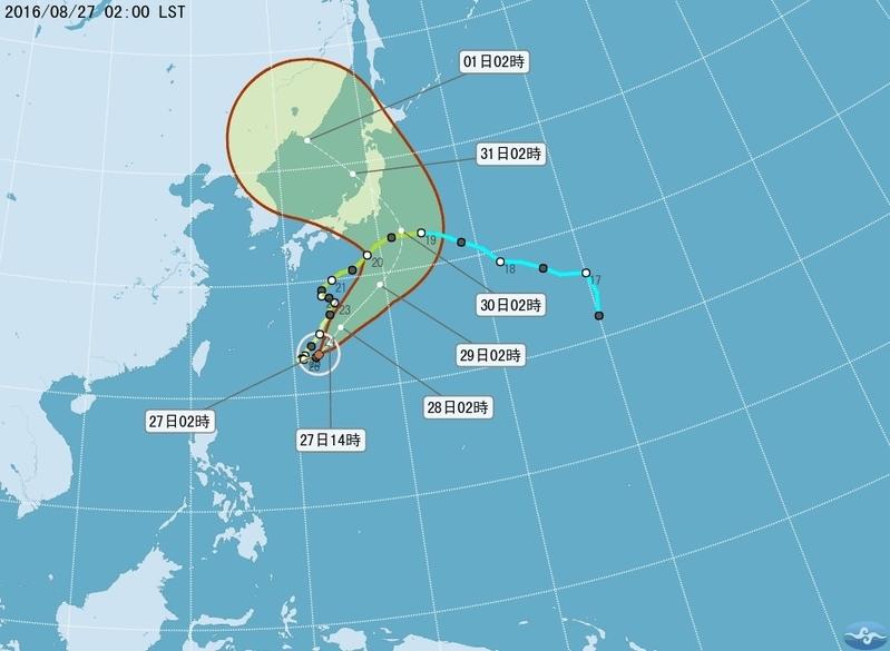 台灣中央氣象局8月27日指出,颱風獅子山在琉球東方附近海面,朝東北往日本方向移動,對台灣沒有直接影響,不過北部、東半部、恆春半島沿海及馬祖、綠島、蘭嶼仍易有長浪發生。(中央氣象局)