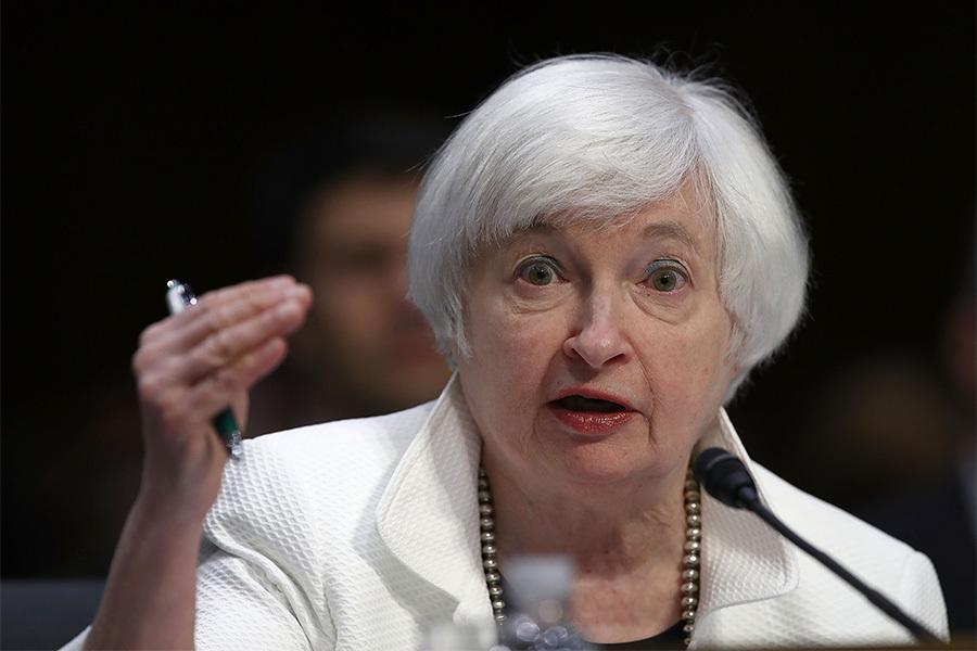 美聯儲主席耶倫26日在全球央行年會上表示,由於美國經濟接近聯儲的目標,加息的可能性越來越強。(Win McNamee/Getty Images)