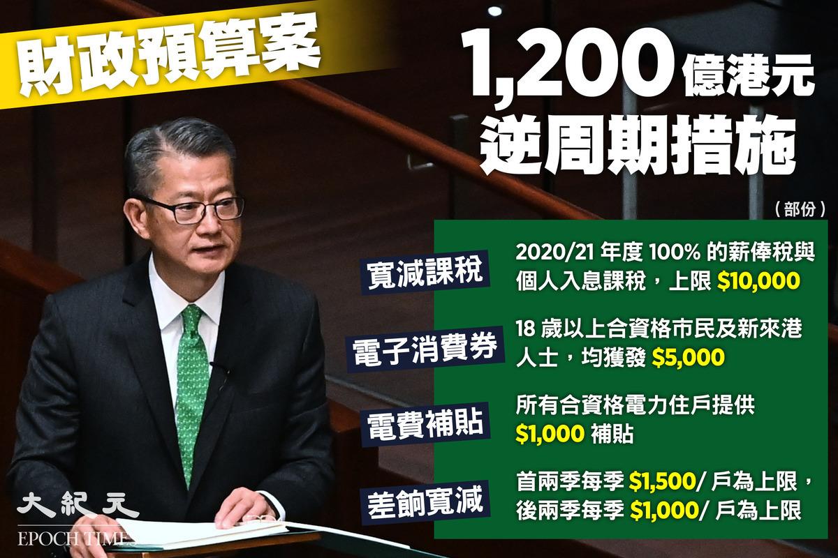 今天(2月24日)財政司司長陳茂波宣讀《財政預算案》,政府將推出逾1,200億港元逆周期措施,細節存在多樣爭議。(大紀元製圖)