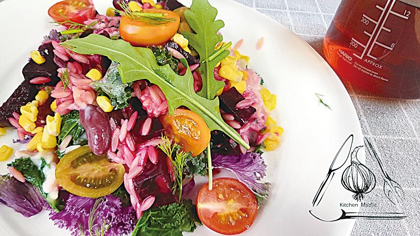 彩虹蔬果意粉沙律。
