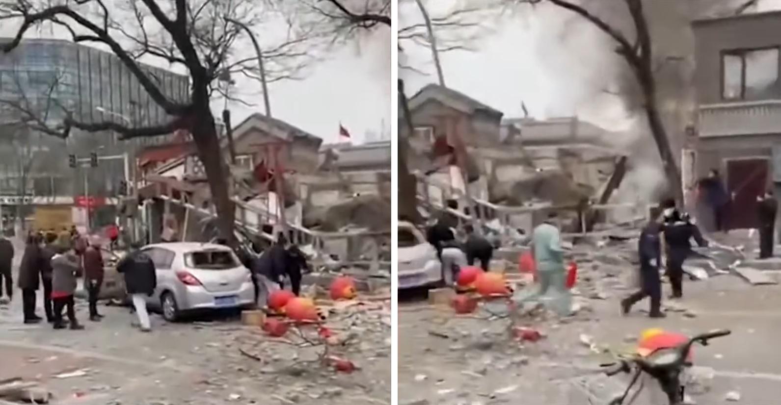 兩會前夕,靠近中南海與天安門廣場的一家餐廳2月23日突然發生爆炸,整個餐廳被炸成廢墟。(新聞看點影片截圖)