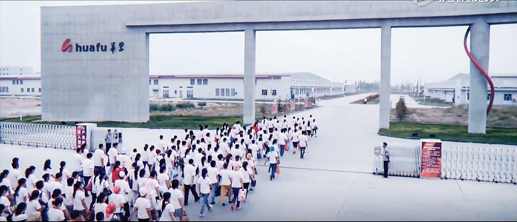 新疆華孚去年巨虧5,430萬美元。圖為新疆華孚的工廠。(影片截圖)