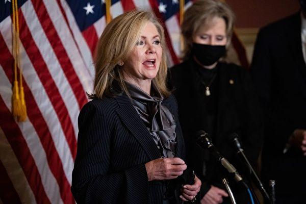 美國聯邦參議員瑪莎布萊克本(Marsha Blackburn)提法案,要求嚴審美中「姐妹城市」關係。(Graeme Jennings/POOL/AFP via Getty Images)