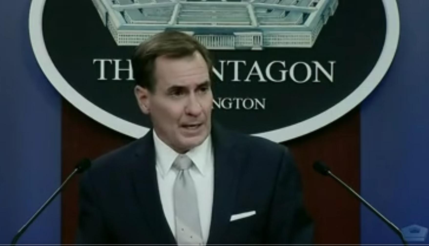 美國國防部發言人柯比2月26日更正其早前對釣魚島的言論並致歉說,美方只對日本防衛該島的立場不變。(美國國防部視頻截圖)