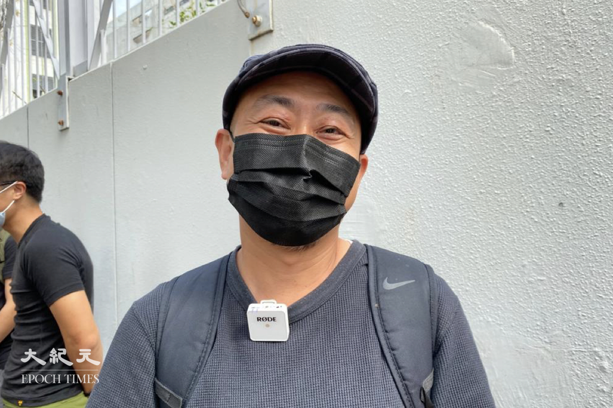 元朗區議員陳敬倫,陳敬倫表示香港人不會屈服。(梁珍/大紀元)
