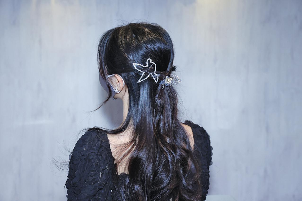 公主頭髮絲夾上水鑽。