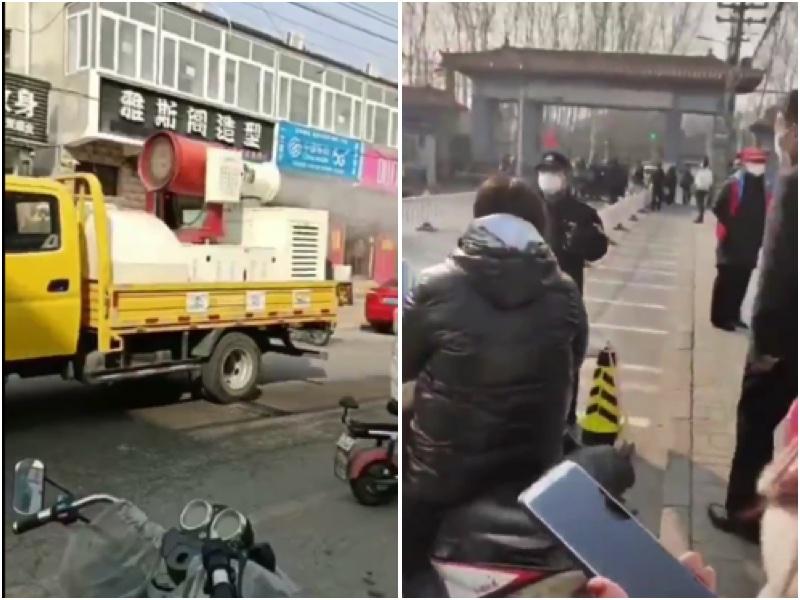 2月27日,北京順義古城村突然被封閉不能外出,消毒車在街頭進行「消殺」。(視頻截圖,大紀元合成)
