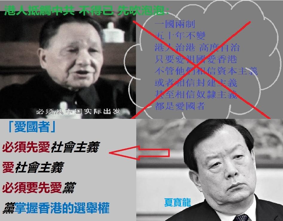 夏寶龍捅破鄧小平當年為欺騙香港人,誇海口吹出的各種泡泡。(大紀元合成)