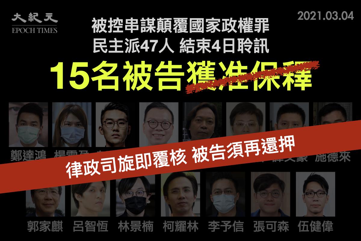 3月4日晚上,國安法指定法官蘇惠德批准其中15人的保釋申請,惟經律政司上訴覆核後,需即時再扣押,並於48小時內柙到高院處理。(大紀元製圖)