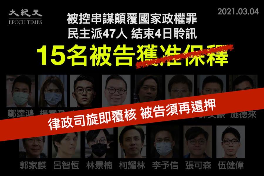 【突發】15名被告獲批保釋後再遭即時扣押