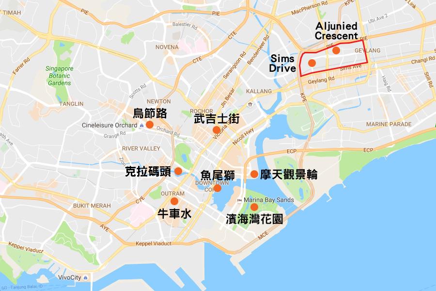 是次出現本地寨卡病毒感染個案的兩個相連小區,比較接近港人熱門的多個新加坡旅遊景點,包括武吉士街、烏節路、新加坡摩天觀景輪、魚尾獅等,其中與武吉士街亦只有3公里距離。(Google地國/大紀元合成圖)