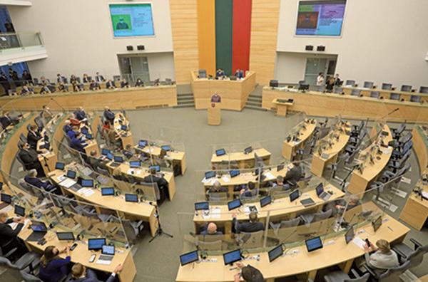 立陶宛國會外交委員會2月通過決議,支持立陶宛脫離北京主導的「17+1」。圖為2020年12月11日的立陶宛維爾紐斯議會。(PETRAS MALUKAS/AFP via Getty Images)