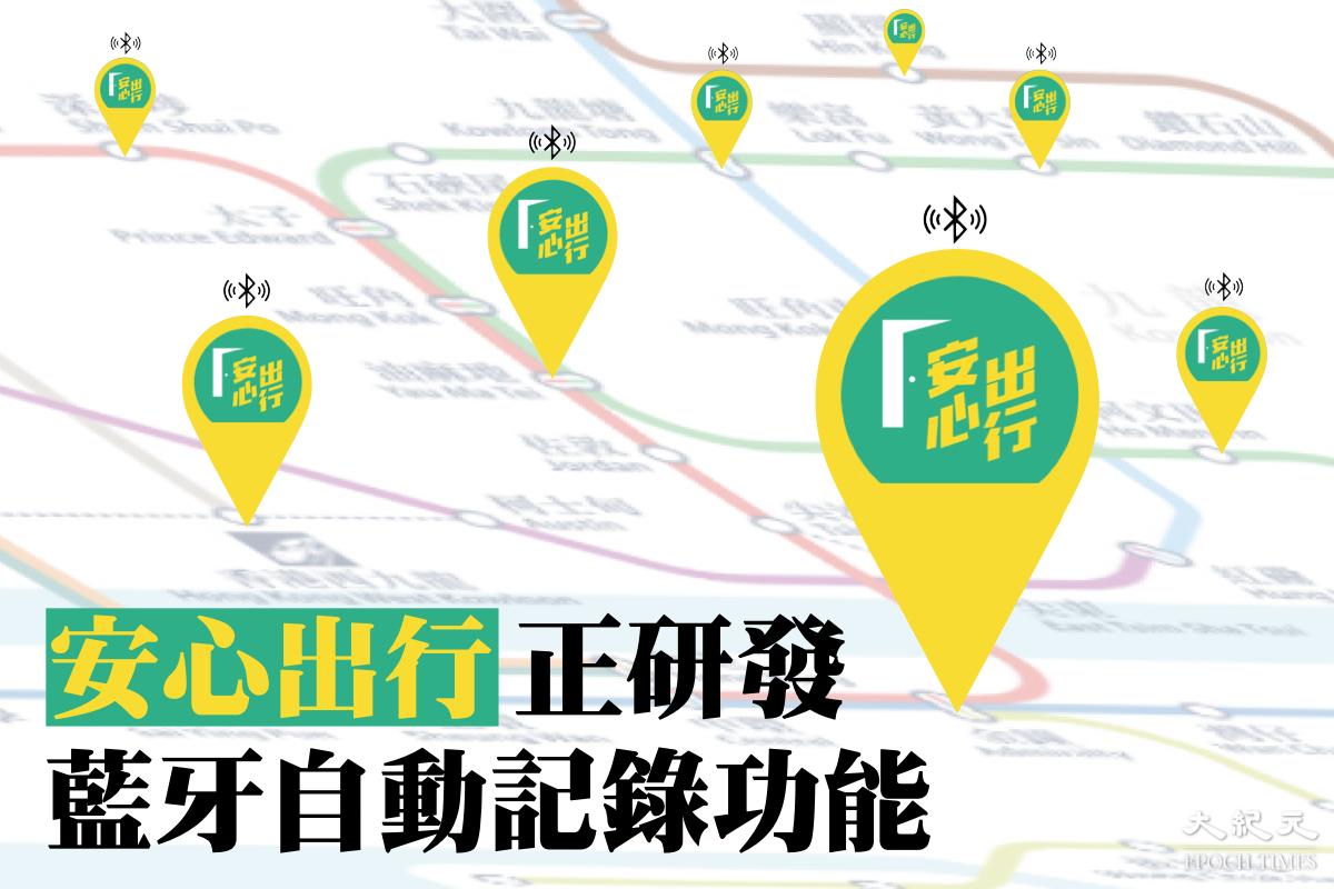 薛永恆今日(3月6日)表示,正與港大合作研發「安心出行」新功能:以藍牙發射器代替手動掃碼,自動記錄市民出入場所的資料。(大紀元製圖)