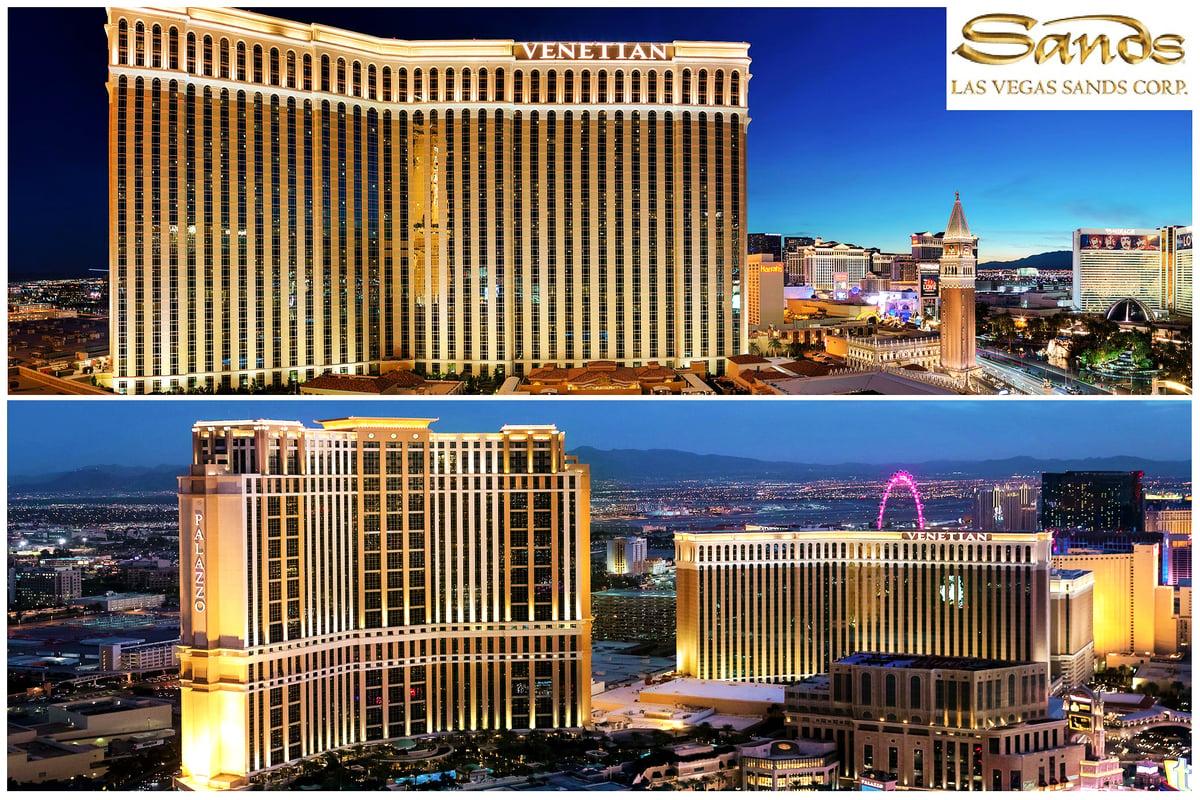 美國賭城拉斯維加斯的地標性建築——威尼斯人飯店(the Venetian,上)、皇宮渡假村賭場飯店(Palazzo,下左)。(Las Vegas Sands Corp./大紀元製圖)