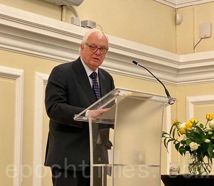 前港督彭定康於2020年3月,在英國倫敦「香港監察」活動上發言。(唐詩韻/大紀元)