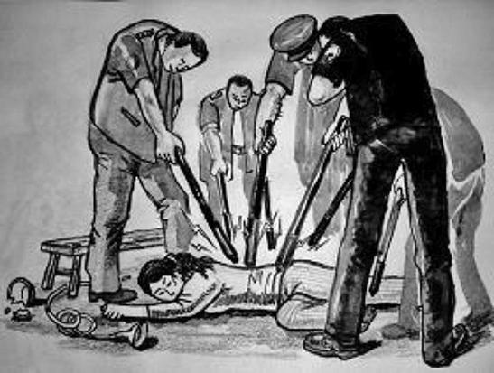 中共酷刑示意圖:多根電棍電擊。(明慧網)