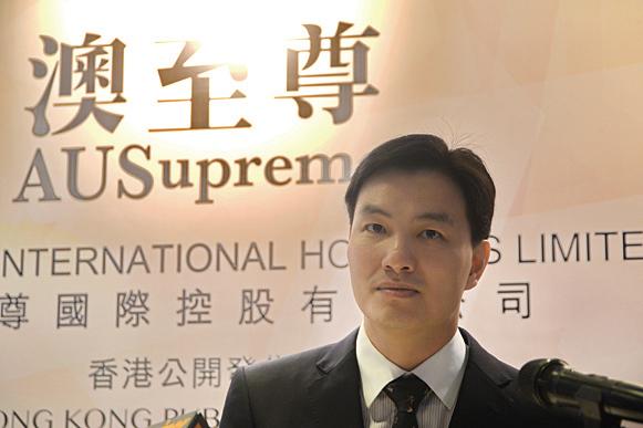 澳至尊上市捲土重來,將在香港公開發售1.875億股。圖為主席蔡志輝。(宋祥龍/大紀元)
