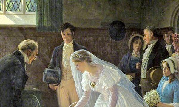 埃德蒙貝理雅雷頓(Edmund Blair Leighton)的作品《婚禮登記》(The Wedding Register),1920年。倫納德夫人(Lady Lennard)贈送,布里斯托城市博物館與美術館(維基百科公有領域)