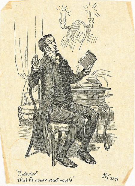 休湯姆森(Hugh Thomson)的插畫作品,描繪柯林斯先生聲稱自己從不讀小說(維基百科公有領域)