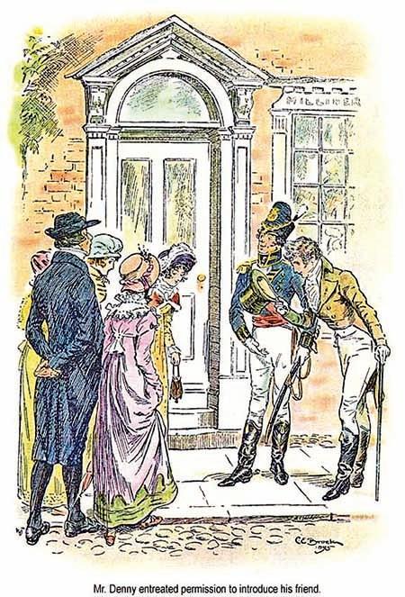 丹尼先生請求允許介紹他的朋友韋翰先生。CE布羅克的插畫作品,1895年(維基百科公有領域)