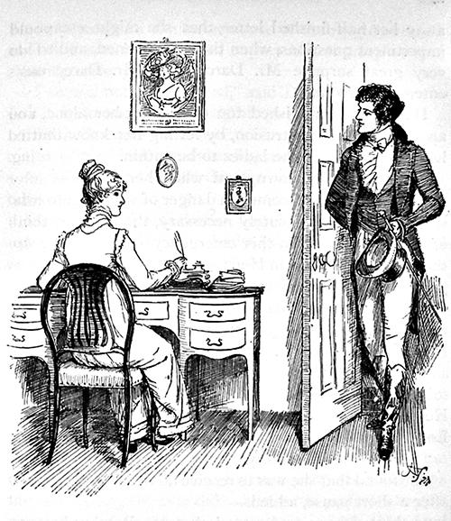 休湯姆森於1894年的插畫作品,描繪伊麗莎白和達西先生(Public Domain)
