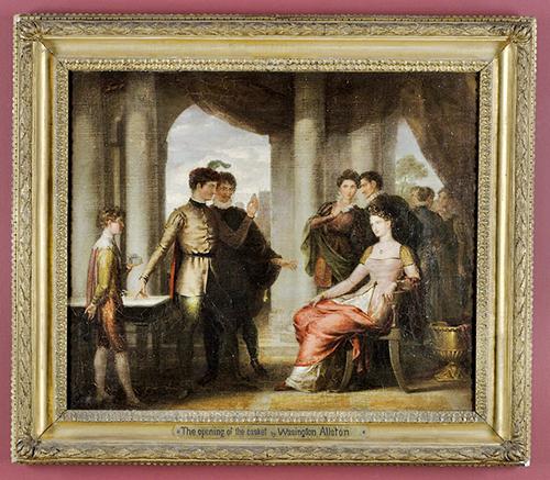 華盛頓奧爾斯頓(Washington Allston)的作品,《威尼斯商人》中的箱子場景(打開箱子),約1807年。1877年藝術家姪子約翰奧爾斯頓的遺贈,波士頓圖書館(公有領域)
