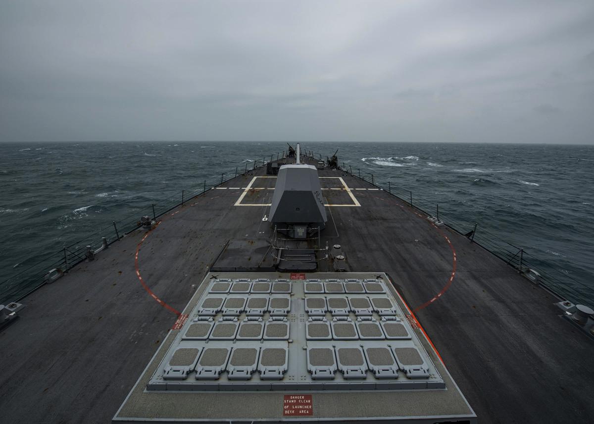 美國伯克級驅逐艦芬恩號3月10日由南向北航經台灣海峽,為拜登上任以來的第三次。(美國海軍第七艦隊官網圖片)