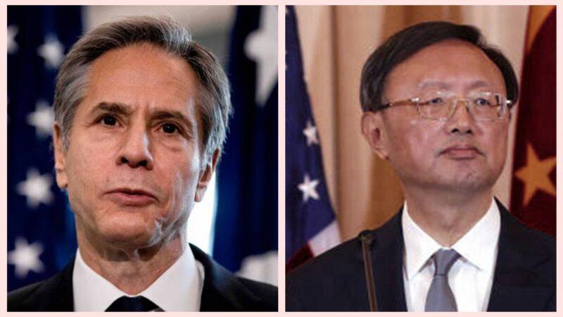 圖為美國國務卿布林肯(左)和中共外事辦主任楊潔篪。(Getty Images / 合成圖片)
