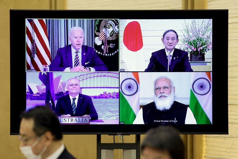 3月12日,美、日、印、澳四國元首舉行四方安全對話視訊峰會。(KIYOSHI OTA/POOL/AFP via Getty Images)