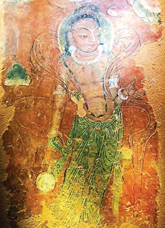 圖為天梯山石窟第4窟發現的北涼壁畫。(公有領域)