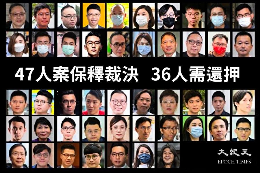 「47人」案保釋裁決完成 36人需繼續還押