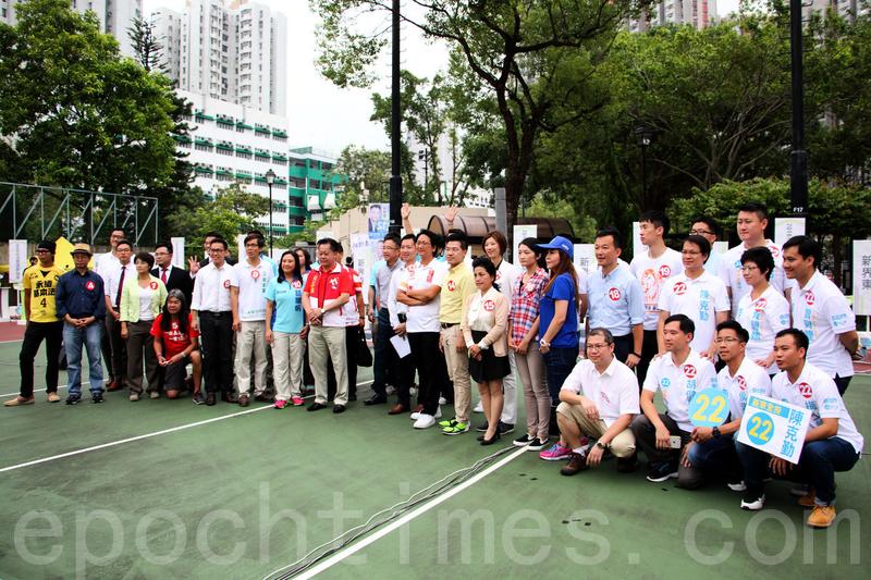 香港電台昨早在上水北區公園舉行新界東選舉論壇,各候選人就丁權、是否徵用郊野公園建屋、水貨等問題進行辯論。(蔡雯文/大紀元)