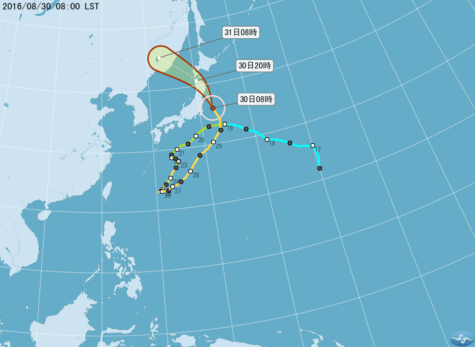 今晚颱風獅子山從伊豆群島東方的海上北上,今天速度將加快,改往西北前進,以強勁的風速逼近北日本、關東地區,可能在日本的東北登陸。(台灣中央氣象局提供)