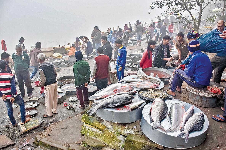 雅魯藏布江進入印度之後,就叫布拉馬普特拉河,雅魯藏布江上游修建大水壩,當然引起印度的緊張。圖為印度漁民在布拉馬普特拉河岸的市場上出售漁獲。(Getty Images)