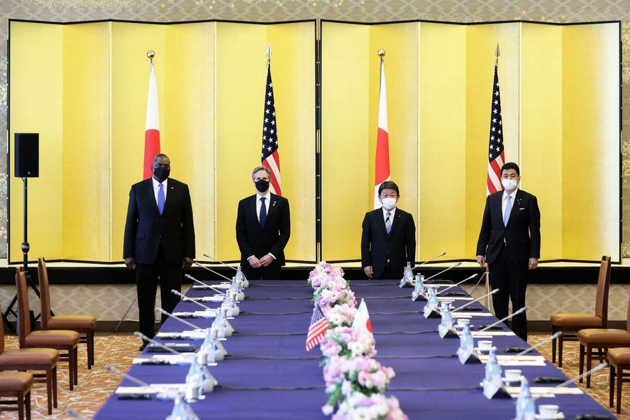3月16日,美日外長和防長舉行會面。(Photo by KIYOSHI OTAPOOLAFP via Getty Images)