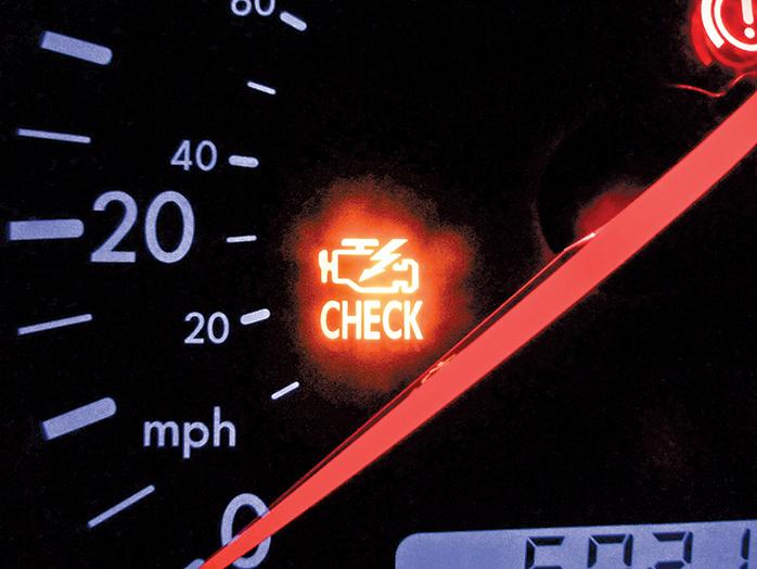 如果引擎過熱,儀表盤上的故障警示燈就會發出黃色或紅色的警告。(維基百科)