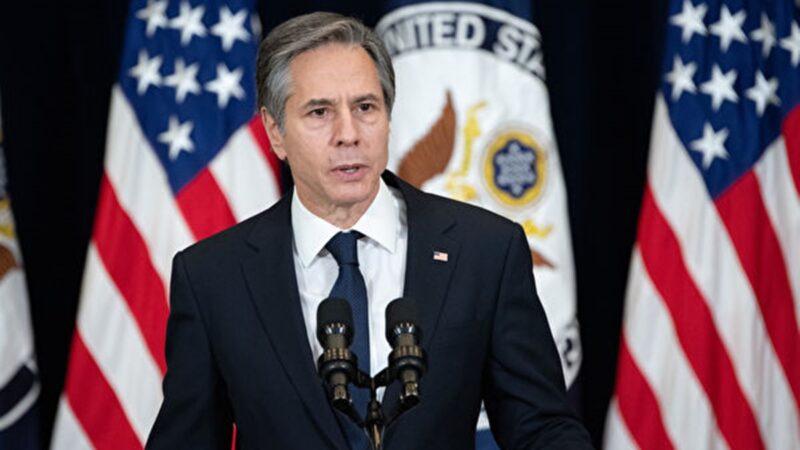 美國務卿布林肯發佈更新《香港自治法》報告,制裁24名中港官員。歐盟大使以侵犯人權為由,制裁4名中共官員與一中國實體。圖為布林肯。 (Ken Cedeno-Pool/Getty Images)