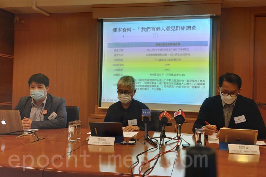 香港民意研究所3月19日舉行「我們香港人」調查發佈會暨小型政策論壇,公佈以「香港移民潮」為主題的民意調查結果。(Betty Tong / 大紀元)