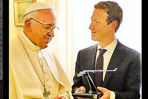 朱克伯格夫婦拜會教宗  贈品出人意料