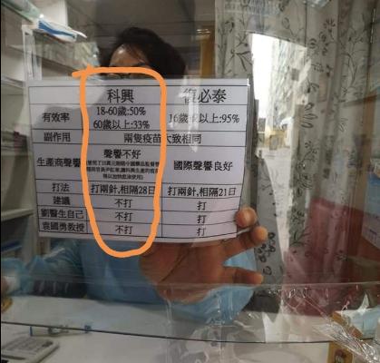 香港醫護出示科興疫苗和復必泰的有效率對比圖。(香港政研會面書截圖)