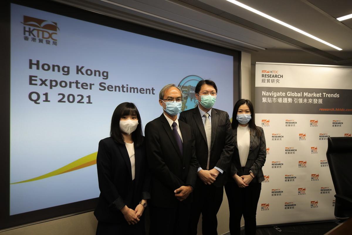 香港貿發局昨(3月22日)公佈第一季出口指數值為39.0,按季增2.8點。(香港貿發局提供)
