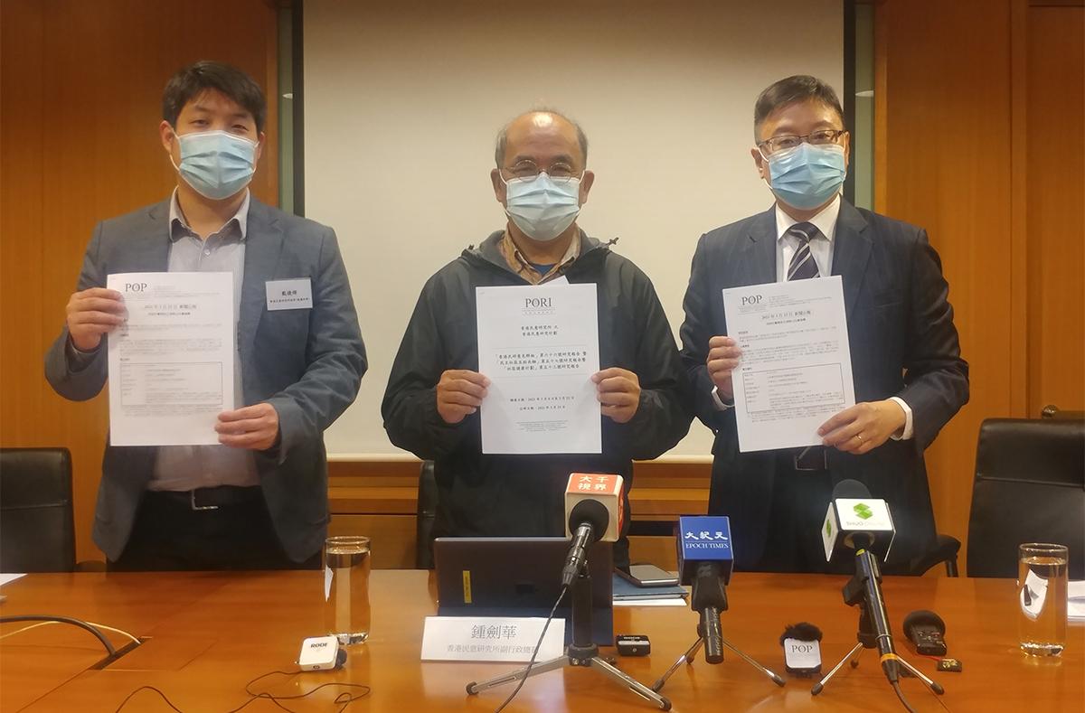 香港民研昨日發放五項核心社會指標,全部得分是2021年新低。(溫迪/大紀元)