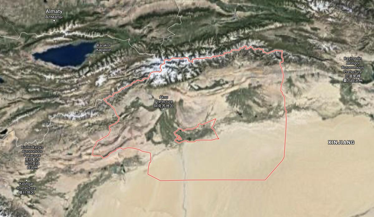 3月24日5時14分,新疆阿克蘇地區拜城縣境內發生5.4級地震,截至當日13時30分,地震已造成3人死亡、65戶房屋受損。(谷歌地圖截圖)